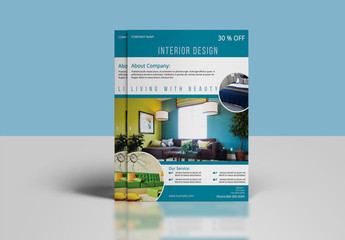 Interior Design Flyer Layout with Blue Accents
