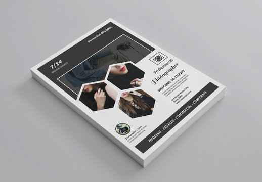 Business Flyer Layout with Hexagon Photo Elements