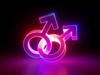 3d render, homosexual couple, gay, linked gender symbols, ultraviolet light, retro neon glowing sign isolated on black background, girl power electric lamp, adult sex icon, fluorescent element