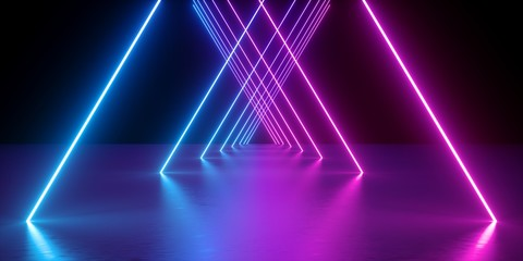 3d render, neon lights, abstract background, glowing lines, virtual reality, violet triangular arch, ultraviolet, infrared, spectrum vibrant colors, laser show Fotoväggar