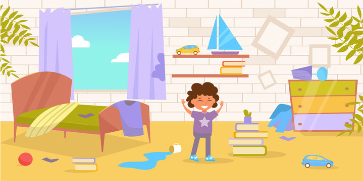 Children's room. Dirty, messy Vector. Cartoon. Isolated art on white background.
