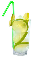 Mojito cocktail with lime and straw drinking isolated