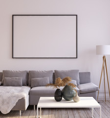 Mock up frame in living room interior, 3d render