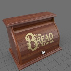 Closed wood breadbox