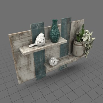 Rustic shelves with decorative elements