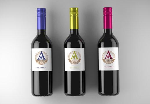 3 Wine Bottle Labels Mockup