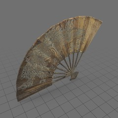 Asian brass hand fan