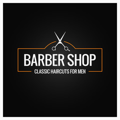 barber shop logo with barber scissors on black background