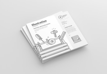 Square Brochure Layout with Writing Illustrations