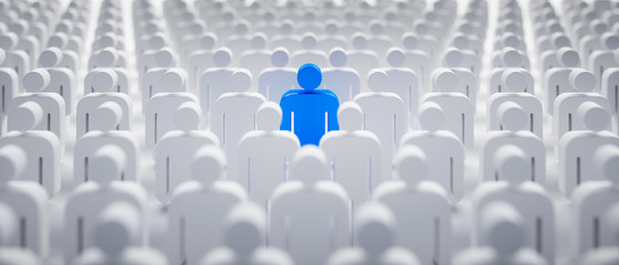 Obraz Blaues Individuum in der Menge - Konzept Leadership und Excellence   - fototapety do salonu