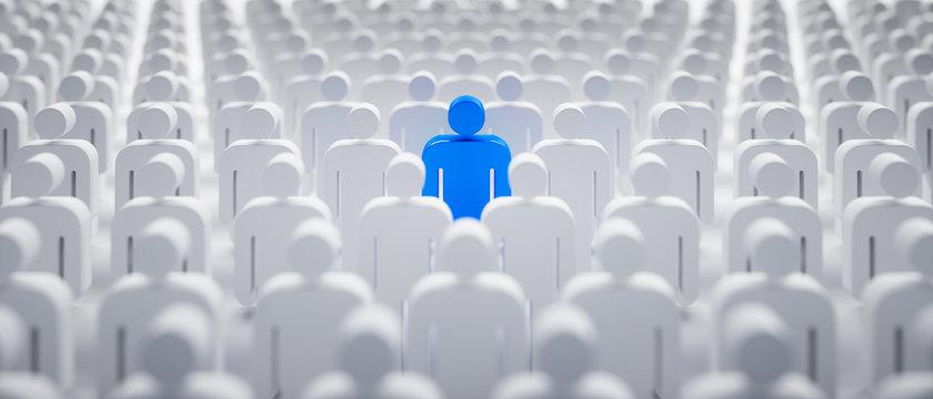 Blaues Individuum in der Menge - Konzept Leadership und Excellence