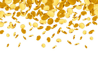 Falling from the top a lot of coins on a white background. Vector illustration