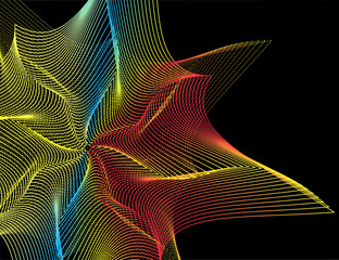 Abstract rainbow decorative element. Abstract spirograph element for decorative design.