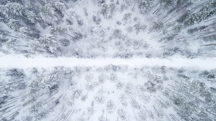 Aerial view of frozen road and boreal forest covered by snow