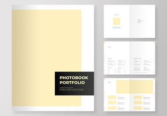 Photography and designs Portfolio book with editable pale yellow accent