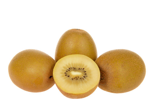 Sungold kiwi sliced in half with whole fruit behind isolated on white background. Unlike Green Kiwifruit, new SunGold Kiwifruit have a smooth skin and is less acidic than typical Kiwi fruit.