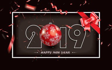 Happy New Year 2019 background with red gift bow,Christmas decoration and defocused transparent red confetti