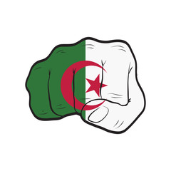 Algeria flag on a clenched fist. Strength, Power, Protest concept