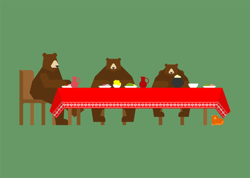 Three bears at table eating. Fabulous animals. Beast from a fairy tale