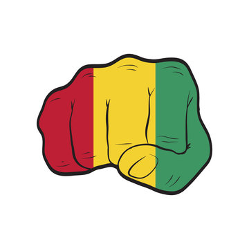 Guinea flag on a clenched fist. Strength, Power, Protest concept