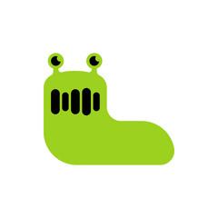 Slug green isolated. Insect cartoon vector illustration