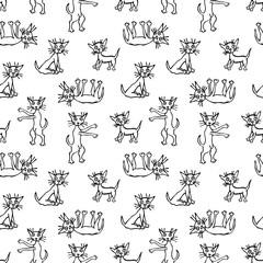 Vector pattern of funny kittens
