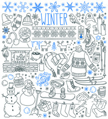 Winter season themed doodle set - snowflakes, icicles, classic ornaments, knitted wear, winter sports. Hand drawn vector illustration isolated on white background.