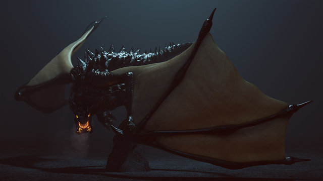 Large Legendary Horned Winged Black Dragon with Glowing Eyes and Breathing Smoke and Embers 3d illustration 3d render