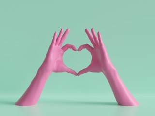3d render, female hands isolated, heart shape, love gesture, jewelry shop display, minimal fashion background, mannequin body parts, show, presentation, Valentine's day, pink blue pastel colors