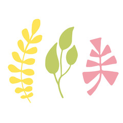 Leaves silhouette. Isolated decoration for greeting cards and web design.