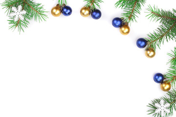Christmas background. Frame decorated with balls isolated on white with copy space for your text