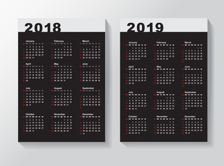 Calendar Template for 2018 and 2019.