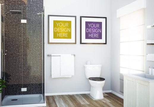 Two Square Frames in Bathroom Mockup