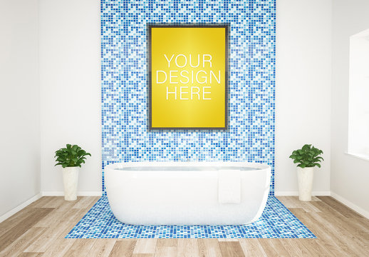 Vertical Poster near Bathtub Mockup