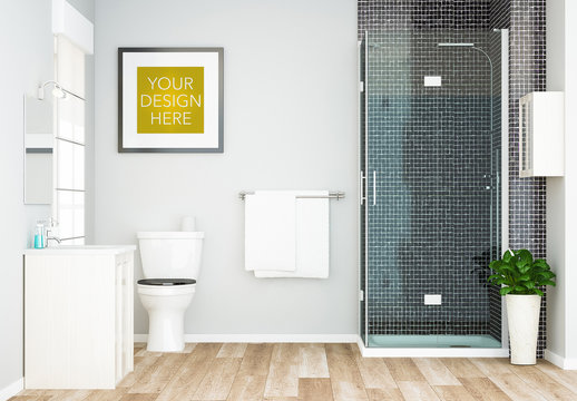 Square Frame in Bathroom Mockup