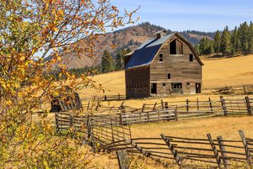 Farm scene an old barn in rural Oregon, USA.