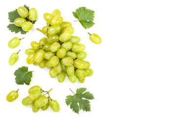 green grapes isolated on the white background with copy space for your text. Top view. Flat lay pattern