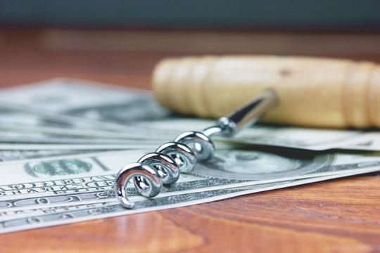 corkscrew and money