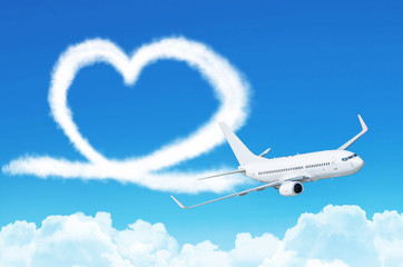 Love heart in the sky concept aviation airplane.