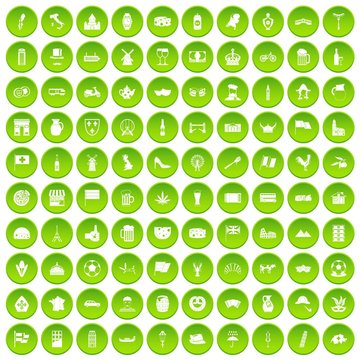 100 europe countries icons set green circle isolated on white background vector illustration