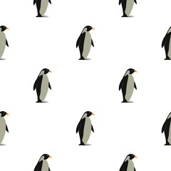 Penguin pattern seamless background in flat style repeat vector illustration