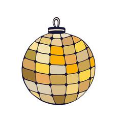 Chrismas gold Ball. Hand drawn illustration. Sticker print design. New Year decoration. Holiday decor.