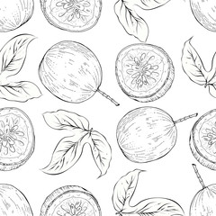 Pasision fruit seamless pattern, vector