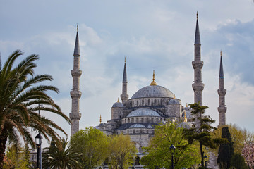 Blue Mosque on background the blue sky on clear day, Istanbul