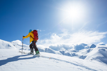 Skitouring, Chamonix, Alps.
