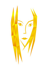Stylized portrait of a woman in a polygonal technique. Yellow-orange tonality. Symbolic pattern, vector graphics, logo.