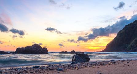 World environment day concept: Beach landscape at autumn sunset background.