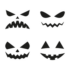 Halloween pumpkin faces icon set. Scary faces silhouettes. Vector illustration.