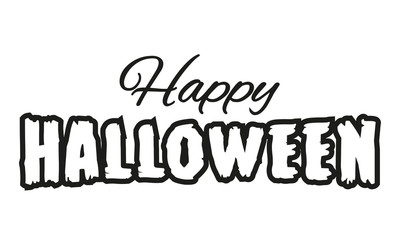 Happy Halloween text for banner or poster. Vector illustration.