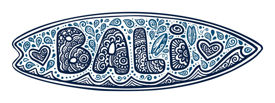 Dark blue doodle style vector surfing board with Bali sign, waves and hearts isolated on white background